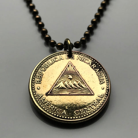 2002 Nicaragua 25 Centavos coin pendant Managua Nicoya Nicaraguenses pyramid Sumo Rama Bilwi Jinotega Bluefields Ocotal Central America n001447