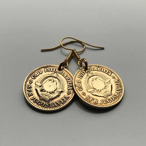 Yugoslavia 10 Para coin earrings Serbia Croatia Belgrade Bosnia Herzegovina Slovenia Srbija Balkans South Slavic Slav e000222