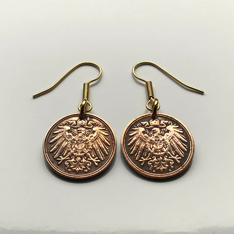 Germany 1 Pfennig coin earrings German eagle Berlin Munich Bundesadler Dresden Bonn Hanover Leipzig Dortmund Bavaria e000223