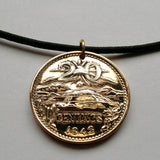 1944 Mexico 20 centavos coin pendant Mexican eagle Aztec Pyramid of the Sun god Teotihuacan eagle pyramids charm necklace n000534