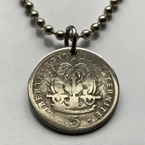 1905 Haiti 5 Centimes coin pendant Haitian Port-au-Prince flags caribbean island coat of arms Hispaniola French Creole France n001357