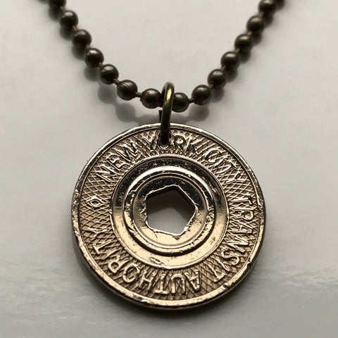 USA NYC 1995-2003 New York City Subway transit token coin pendant Manhattan Brooklyn Bronx Queens Staten Island E F R trains railroad transportation Central Park Times Square Big Apple 42nd St n003203