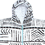 O & E Ladies Zip Front Hooded Poncho - Black and White - SUPSHED NZ