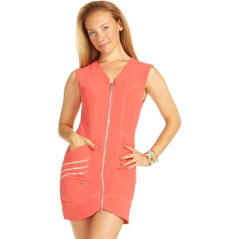 Sup Merge Front Zipper Dress Coral Front