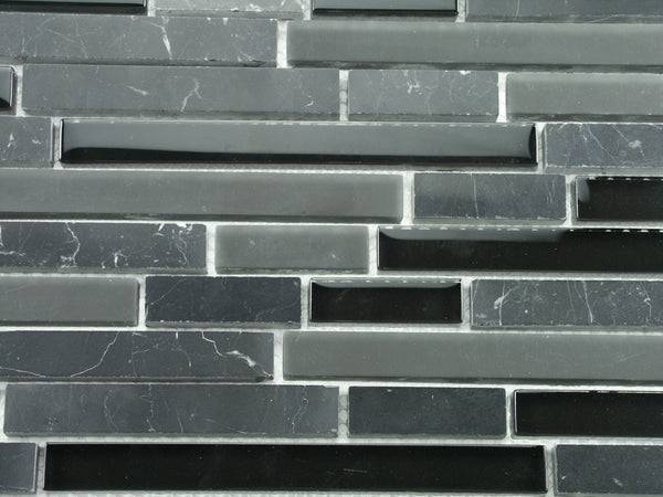 Polished Negro Maquirina Stone Mosaic Black Glass Tile Kitchen
