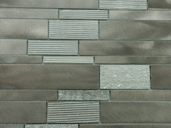 Brushed Aluminum Textured Dark Emperador Mosaic Tile Kitchen