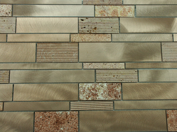 Brushed Aluminum Textured Red Travertine Mosaic Tile Kitchen