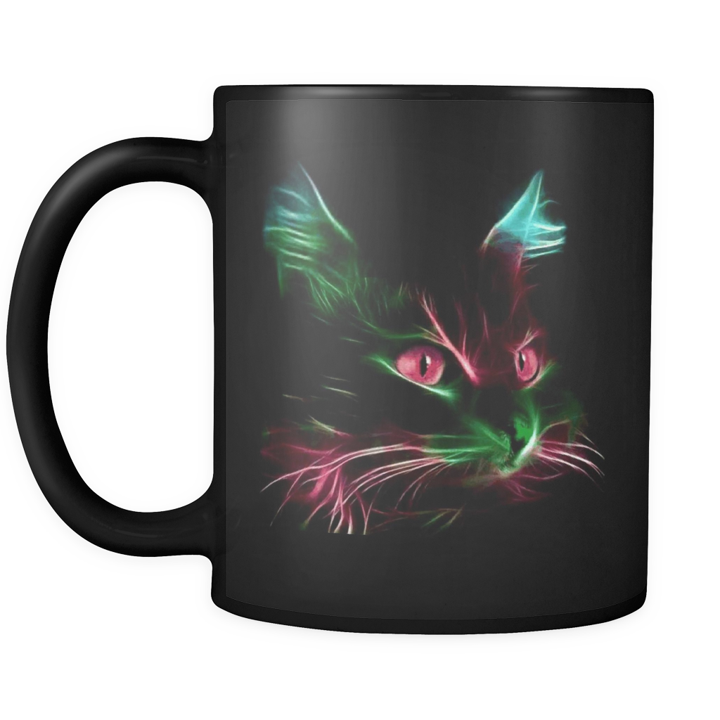 Cute Red Eyes & Blue Green Ears Cat Mug - 11 Oz Black