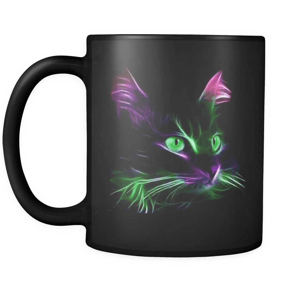 Cute Green Eyes & Red Ears Cat Mug - 11 Oz Black