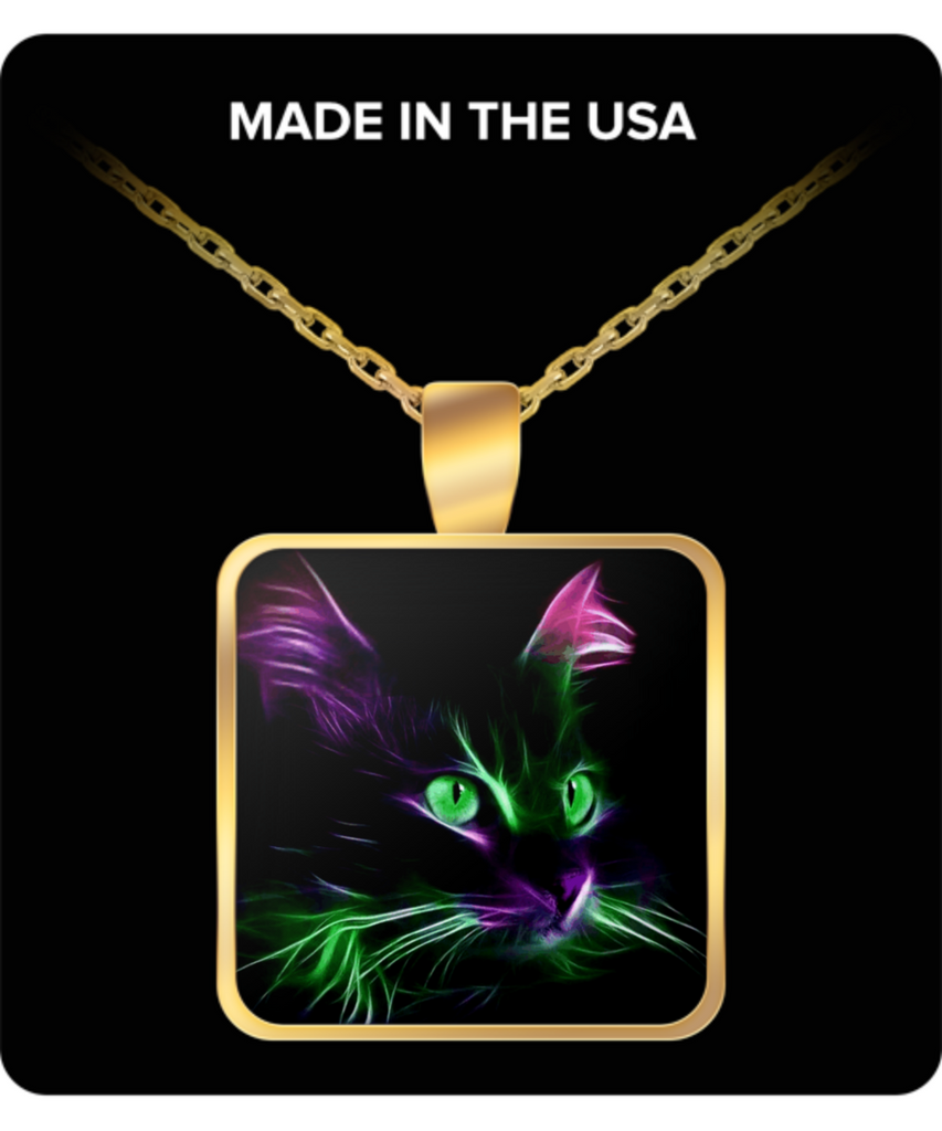 Cute Green Eyed Cat - Square Pendant Necklace - Gold Plated