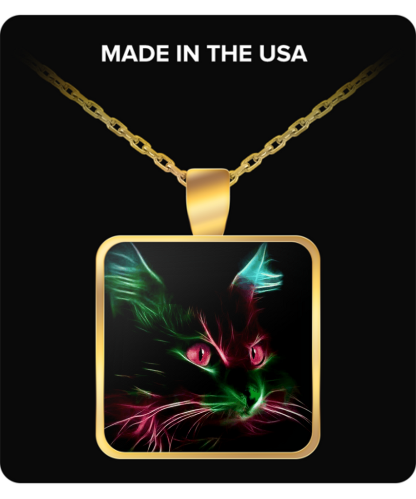 Cute Cat Square Pendant Necklace - Gold Plated