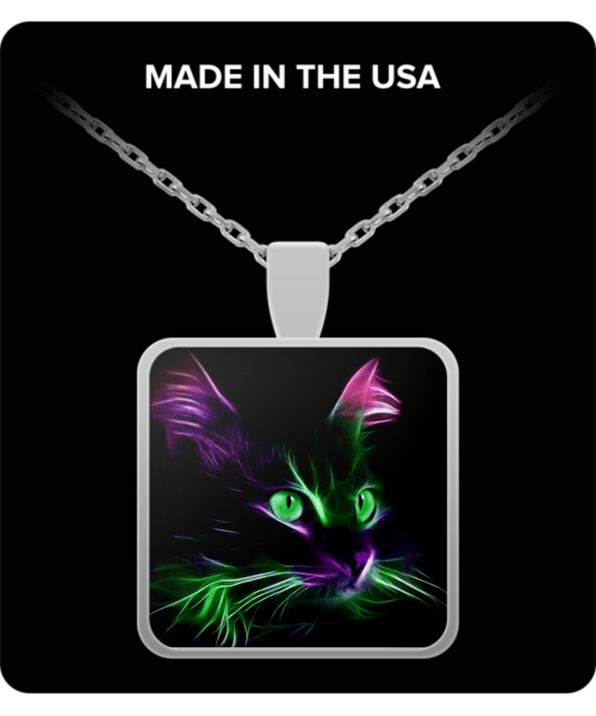 Cute Green Eyed Cat - Square Pendant Necklace - Silver Plated