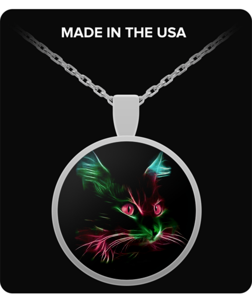Cute Red Eyes Cat - Round Pendant Necklace - Silver color