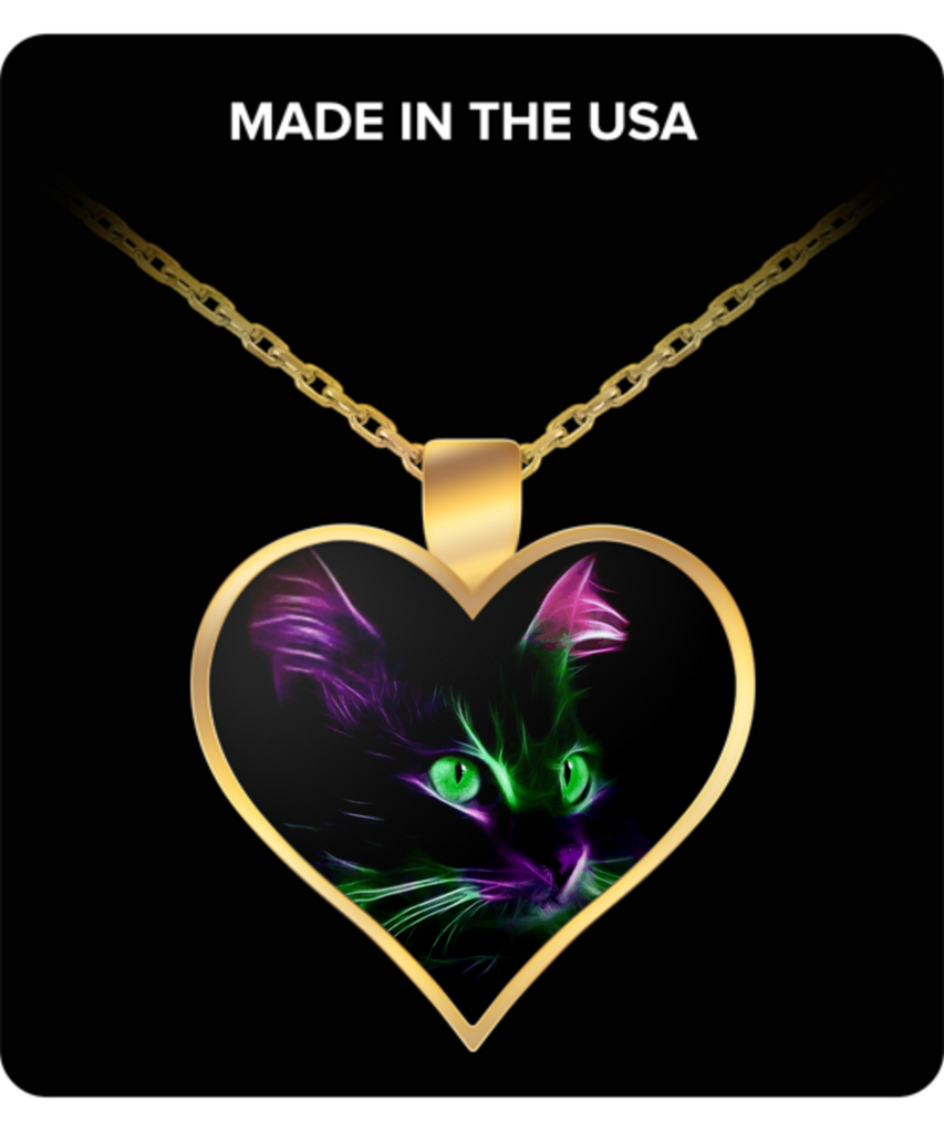 Cute Green Eyed Cat -Heart Pendant Necklace - Gold Plated