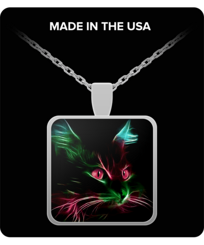 Cute Cat Red Eyes Square Pendant Necklace - Silver Plated