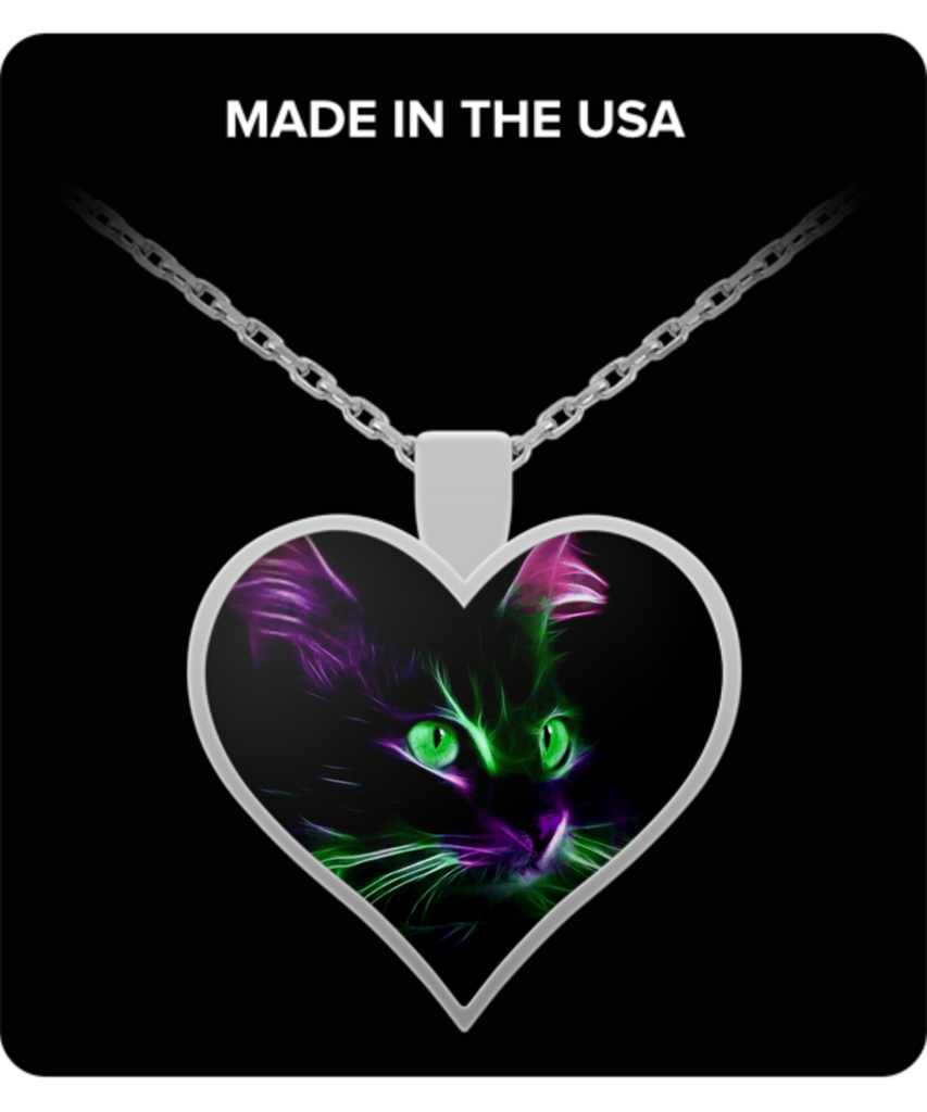 Cute Green Eyed Cat - Heart Pendant Necklace