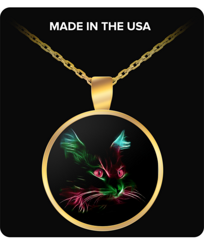 Cute Red Eyes Cat - Round Pendant Necklace - Gold Plated