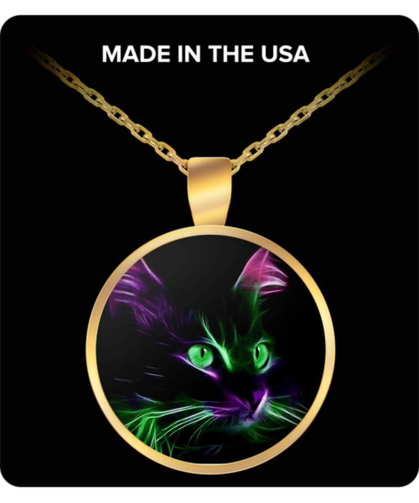 Cute Green Eyed Cat - Round Pendant Necklace - Gold Plated