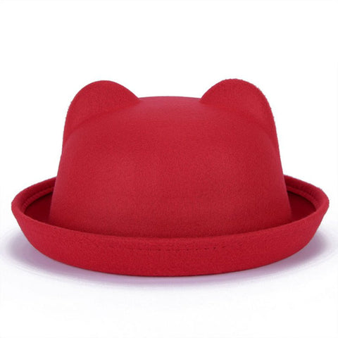 Beautiful Cute Women Woolen Cat Ears Bowler Cap
