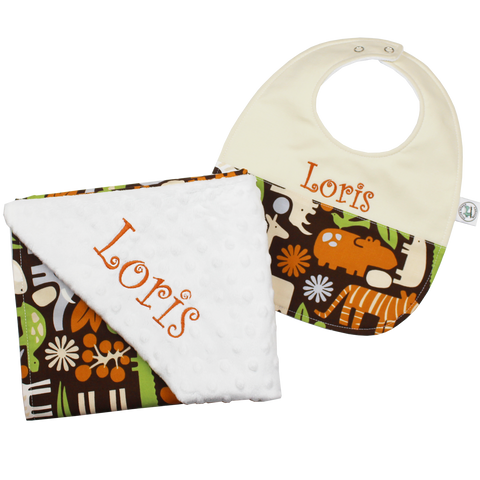 Zoology in Chocolate Blanket and Bib Set