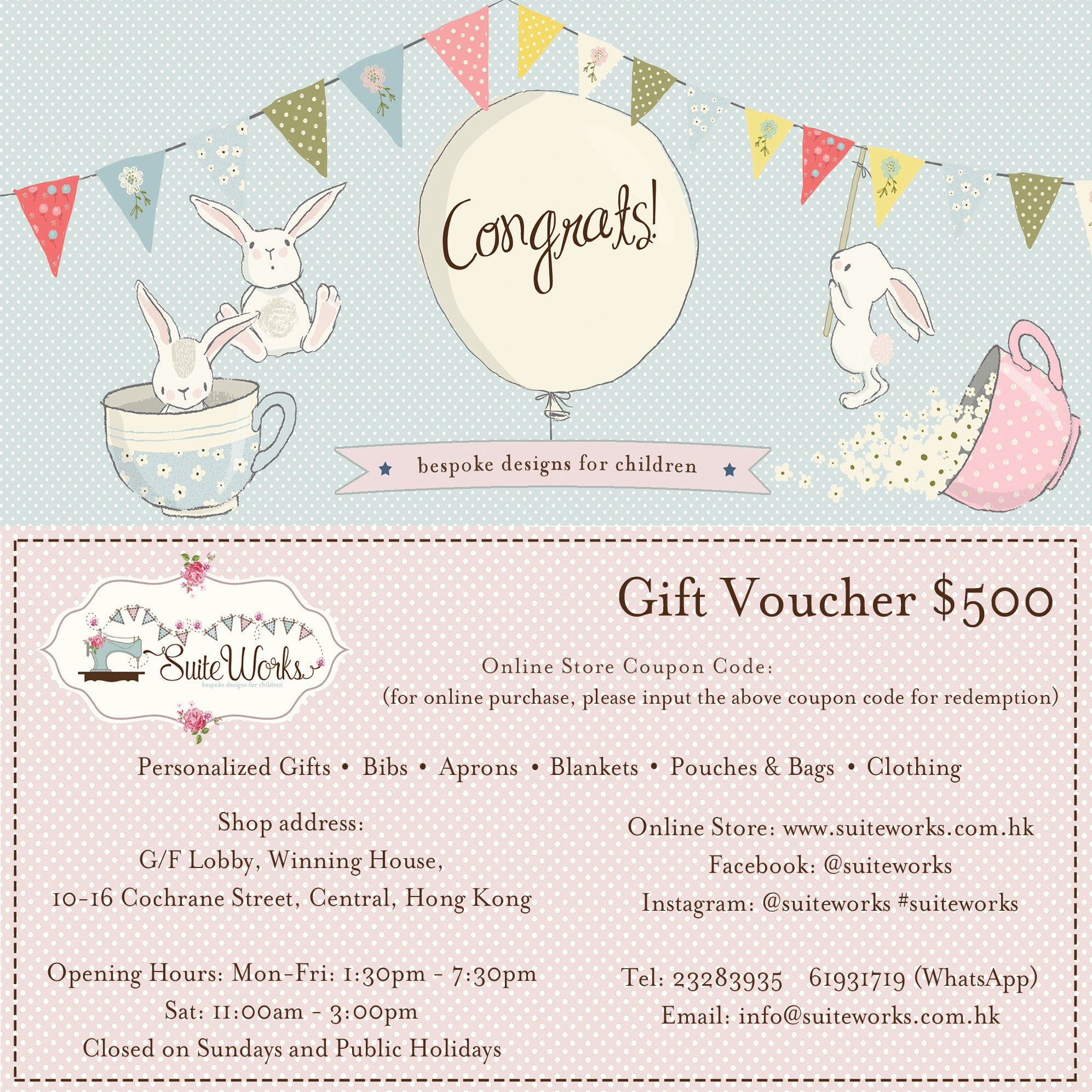 Gift voucher 500 suite works bbpersonalised baby gifts negle Gallery