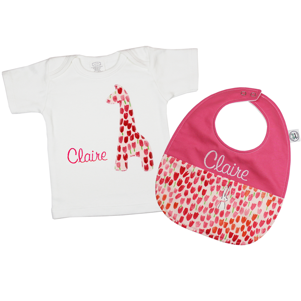 Personalised bib and tee set tulip blossomgiraffe suite works gift sets suite works bb personalised baby gifts negle Images