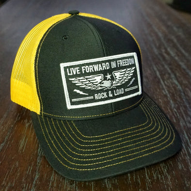 """Live Forward in Freedom"" Hat - Black/Yellow Gold"