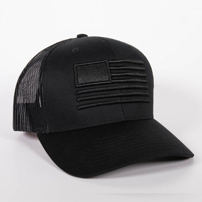 Embroidered American Flag Hat - Black/Black