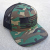 Embroidered American Flag Hat - Camo/Black