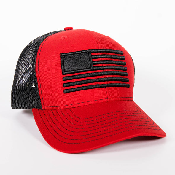 Embroidered American Flag Hat - Red/Black