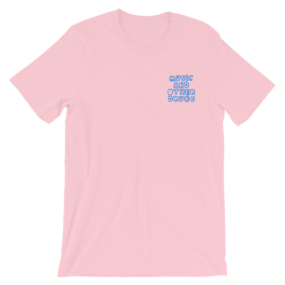 Music and Other Drugs Embroidered Tee (Pink/Blue)