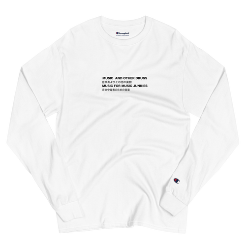 Music 4 Music Junkies Champion Long Sleeve Shirt (White)
