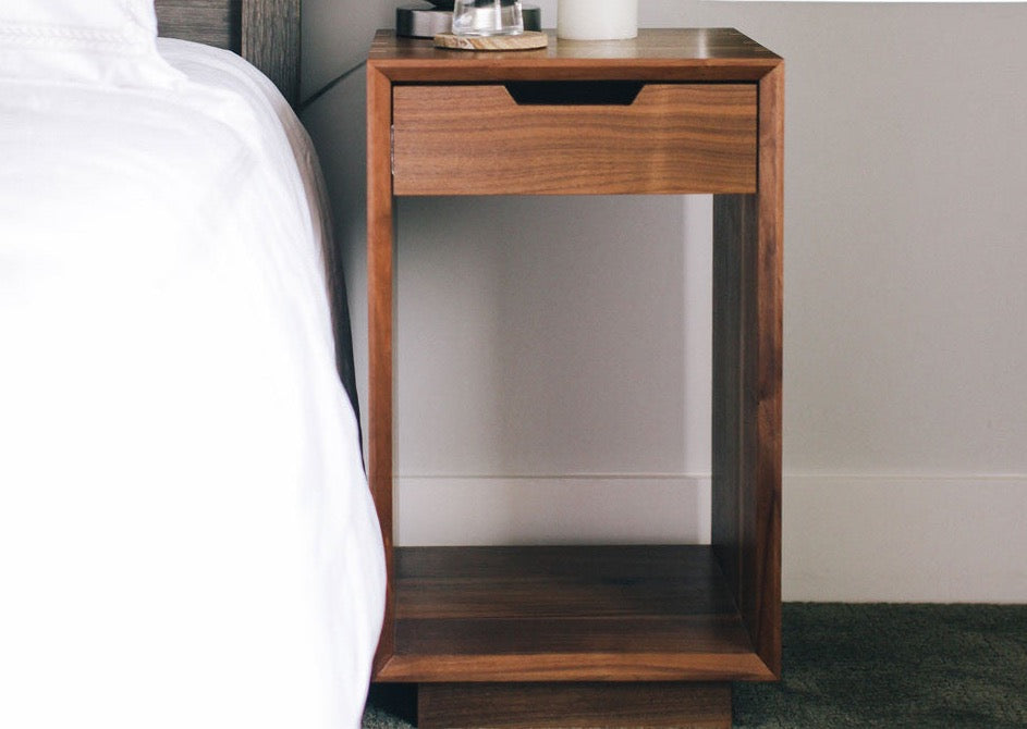 Bedside Table With Solid Walnut Wood. Waterfall Edge And Maple Dovetails.  Custom Furniture That ...