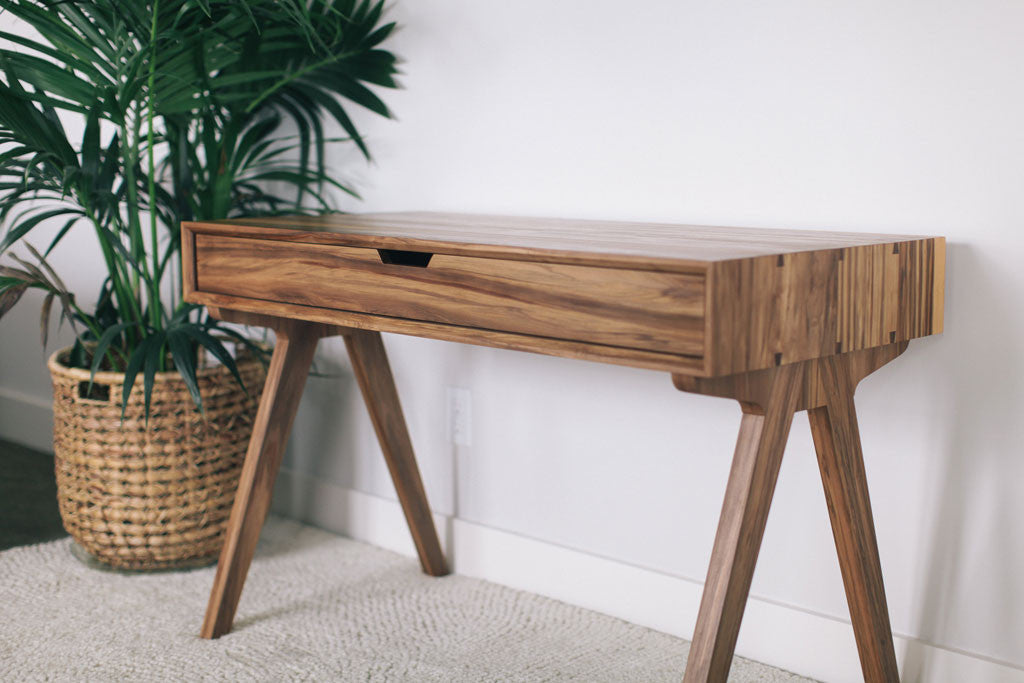 custom solid wood desk with waterfall edge dovetails and mid century modern vibe