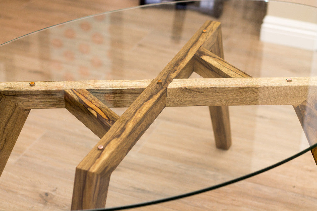 Top View Of The Glass Coffee Table Top That Shows The Copper Dowels And The  Black ...