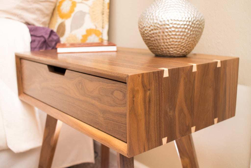 Furniture Legs San Diego cantilevered copper, glass, and wood end table. - open door furniture