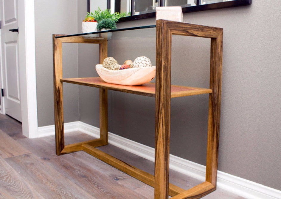 Copper Glass And Wood Entry Table Custom Furniture From San Diego