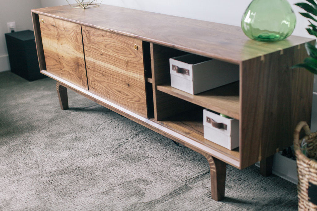 Beau Maple Dovetails · Solid Wood Media Console, Sideboard, Or Credenza. Walnut  Waterfall Grain.