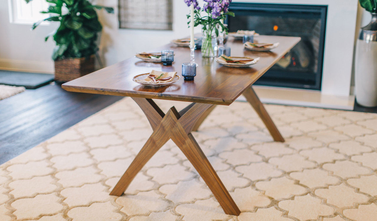 Handmade, walnut Atlas Dining table