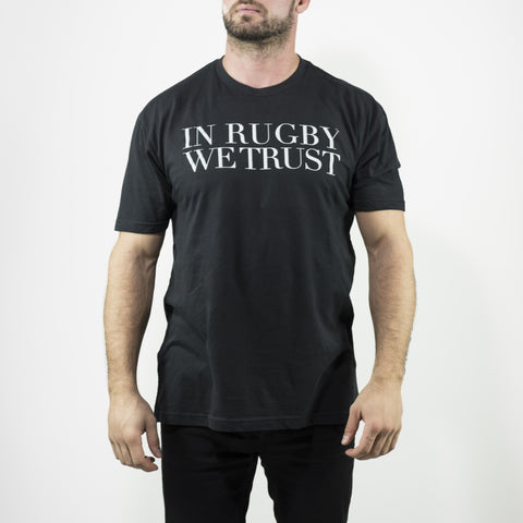 In Rugby We Trust Black Tee - Elegant Violence Rugby Lifestyle
