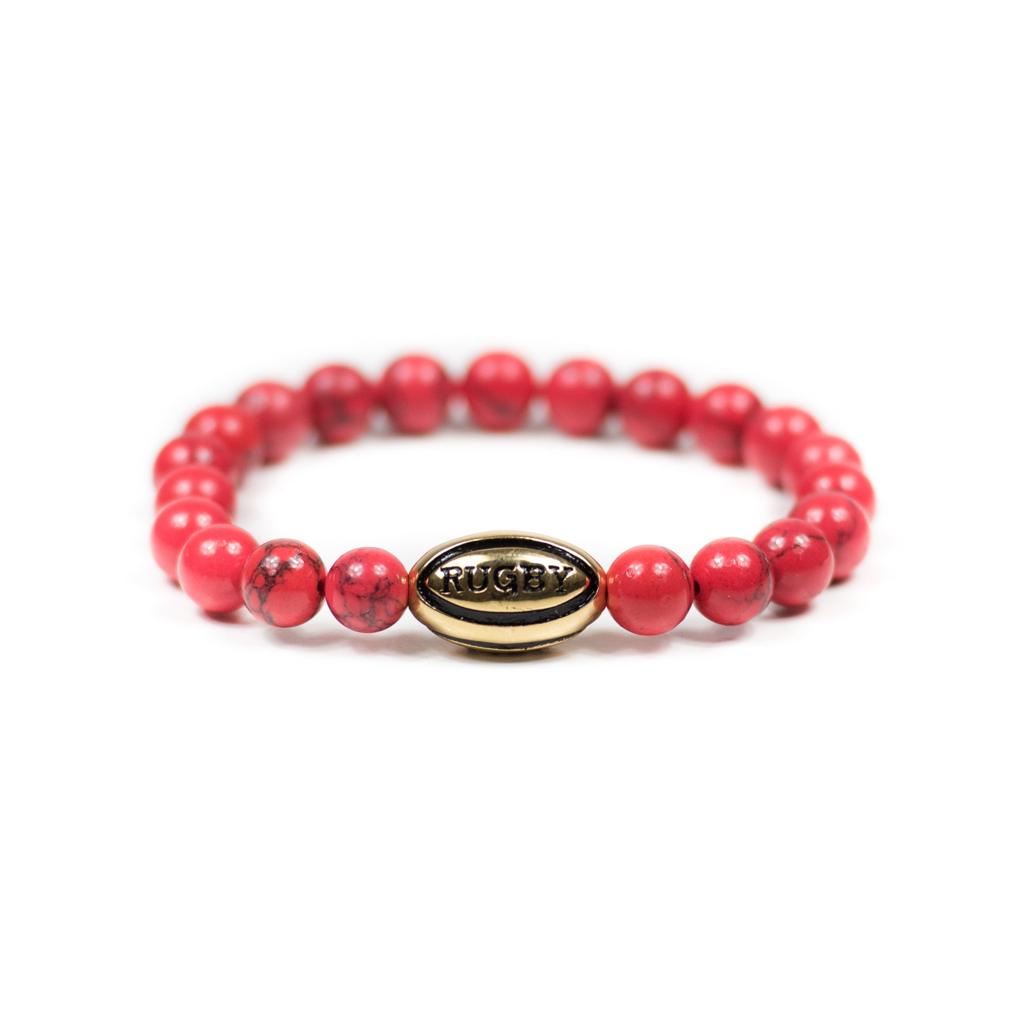 Red Coral w/ Gold Rugby Ball