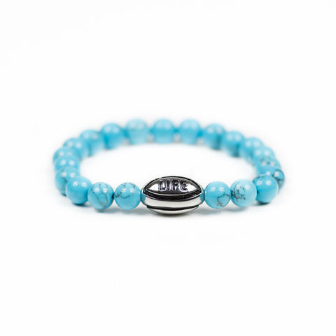 Turquoise w/ Silver Rugby Ball