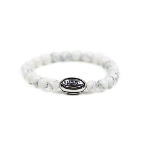 White Howlite w/ Silver Rugby Ball - Elegant Violence Rugby Lifestyle