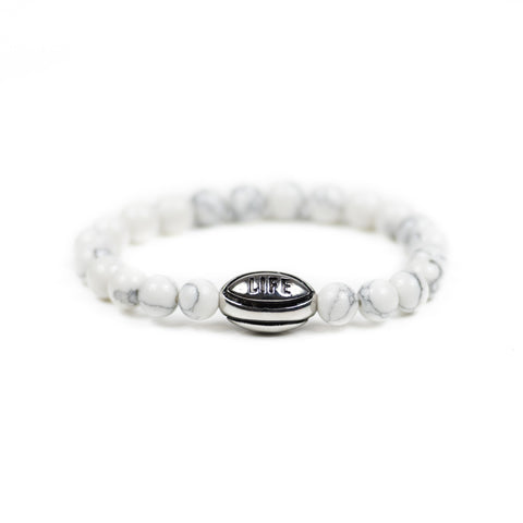 White Howlite w/ Silver Rugby Ball