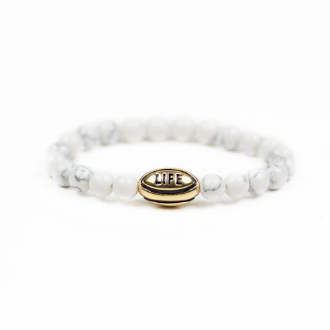 White Howlite w/ Gold Rugby Ball