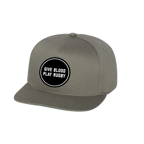 Give Blood Embroidered Snapback Cap (Grey) - Elegant Violence Rugby Lifestyle