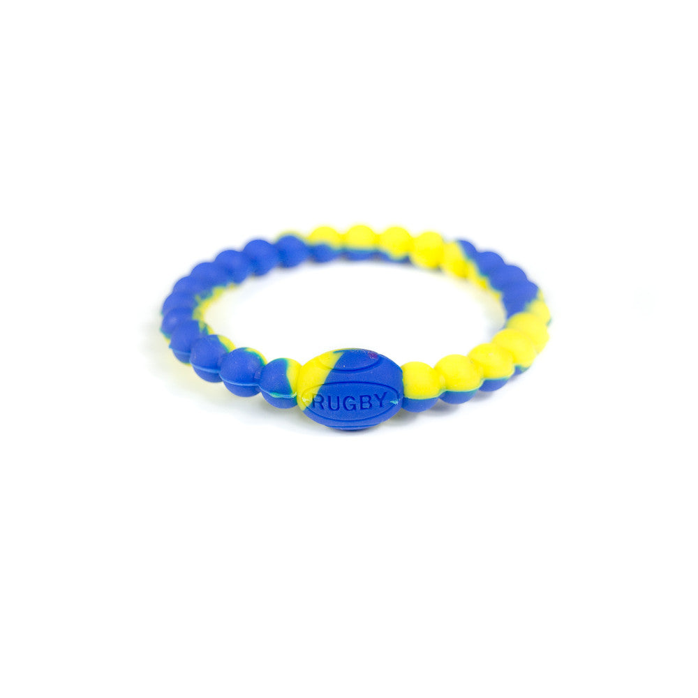 Blue and Yellow Active Rugby Life Bracelet
