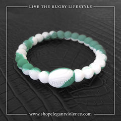 Green and White Active Rugby Bracelet - Elegant Violence Rugby Lifestyle