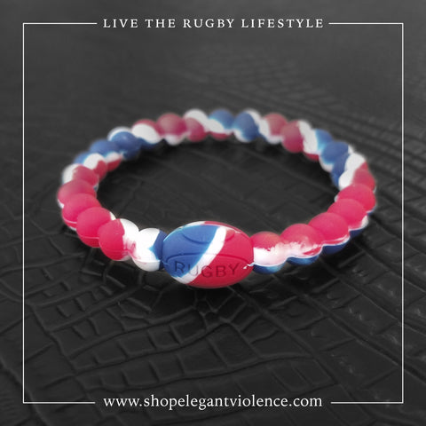 Red, White and Blue Active Rugby Life Bracelet