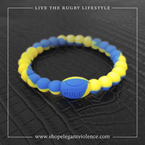 Blue and Yellow Active Rugby Life Bracelet - Elegant Violence Rugby Lifestyle